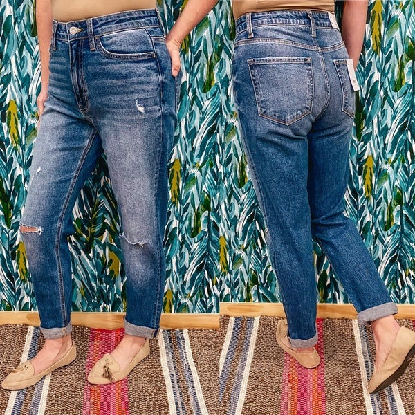 """Vervet Erika """"Candy Lights"""" Distressed Double Cuffed Mom Jeans *Final Sale*"""