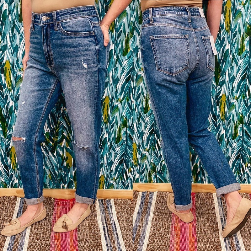 """Vervet Erika """"Candy Lights"""" Distressed Double Cuffed Mom Jeans"""