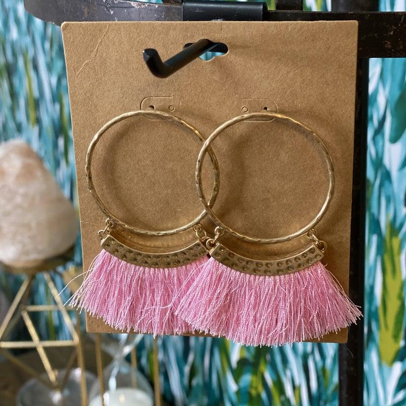 Gold Hoop Earring with Light Pink Fringe *Final Sale*