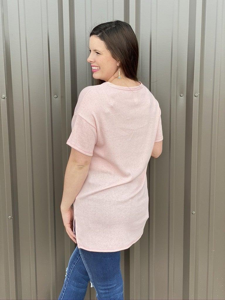 Reg/Plus Honey Me Pink/Ivory Ribbed Split Neck Top