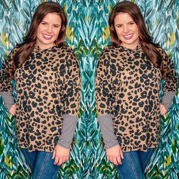 Reg/Plus Honey Me Leopard Hoodie with Striped Cuffs