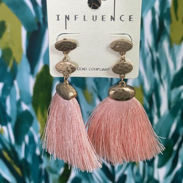 Gold Hammered Drop Pink Tassel Earrings