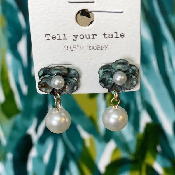 Rustic Jade Flower Pearl Drop Earrings