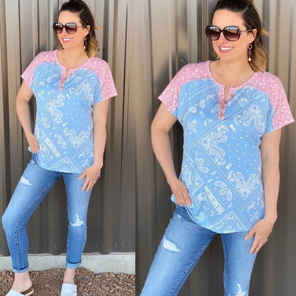 ODDI Blue/Pink Bandana Print Top with Button Placket Neckline