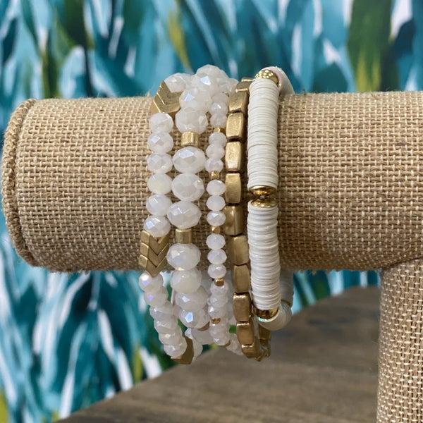 White Stacked Chevron Bracelet Set