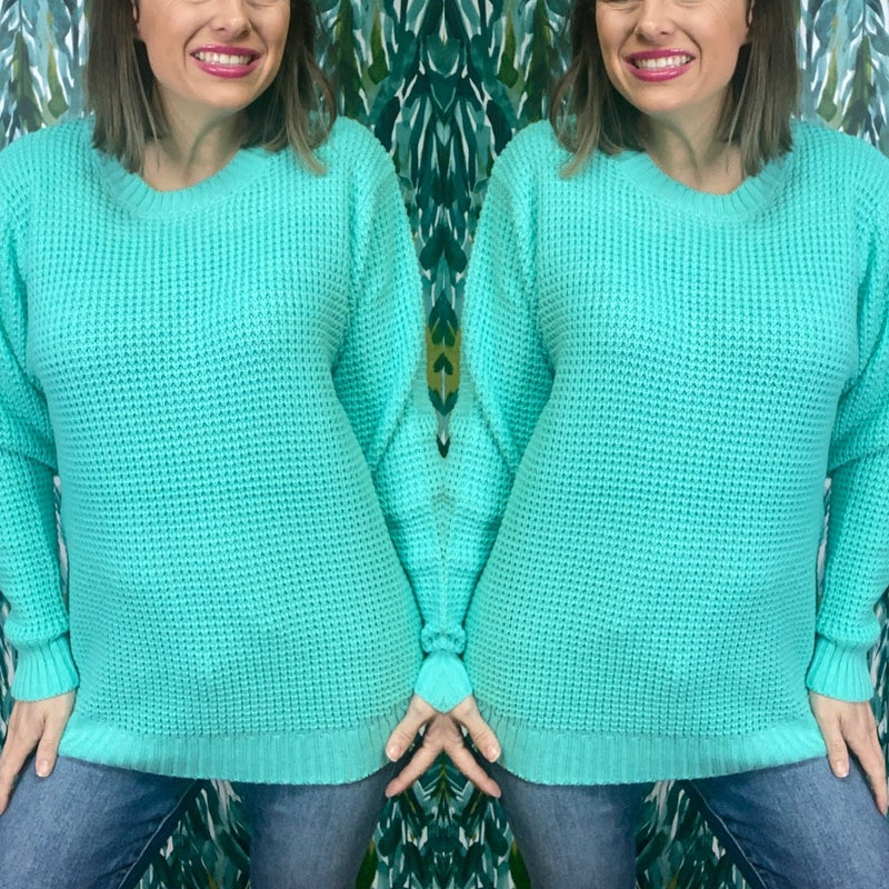 Zenana Mint Hi Lo Waffle Sweater *Final Sale*