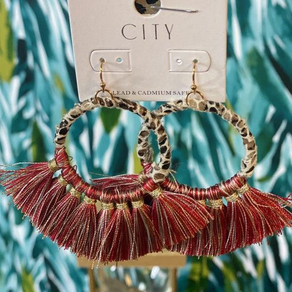 Wrapped Hoop Red Tassel Earring