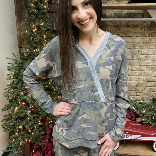 Entro Camo Hoodie with Heather Gray Trim