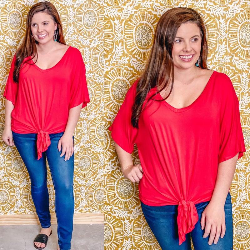 Reg/Plus Zenana Red V-Neck Tie Front Top *Final Sale*