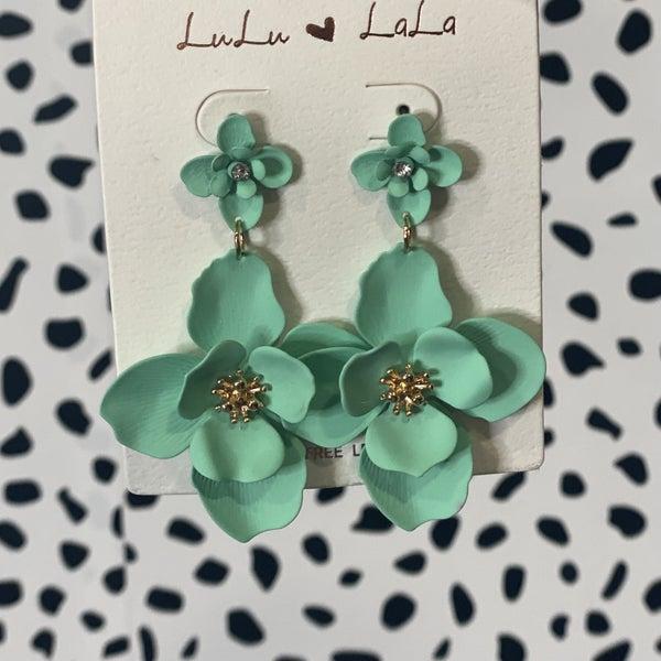 Double Flower Drop Earring Mint