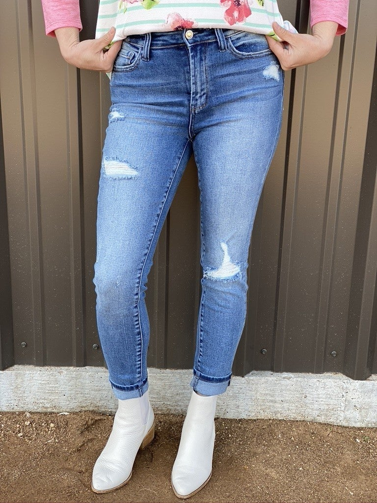 "Vervet Haylie ""Craft"" High Rise Distressed Hem Cropped Jeans *Final Sale*"