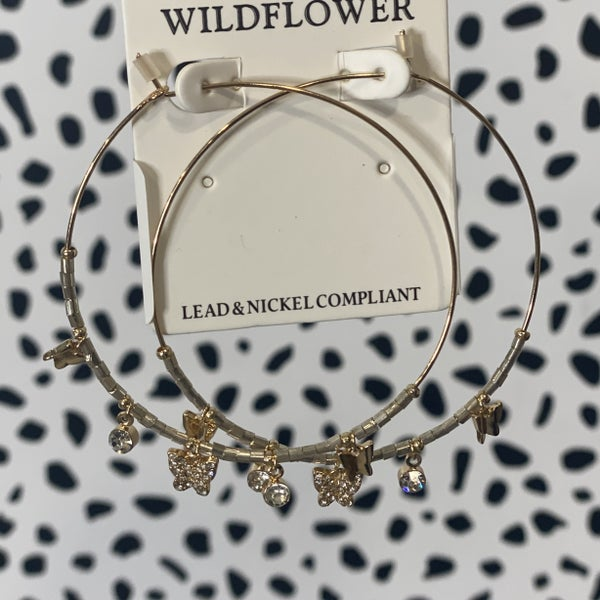 Stacked Butterfly Hoops Silver