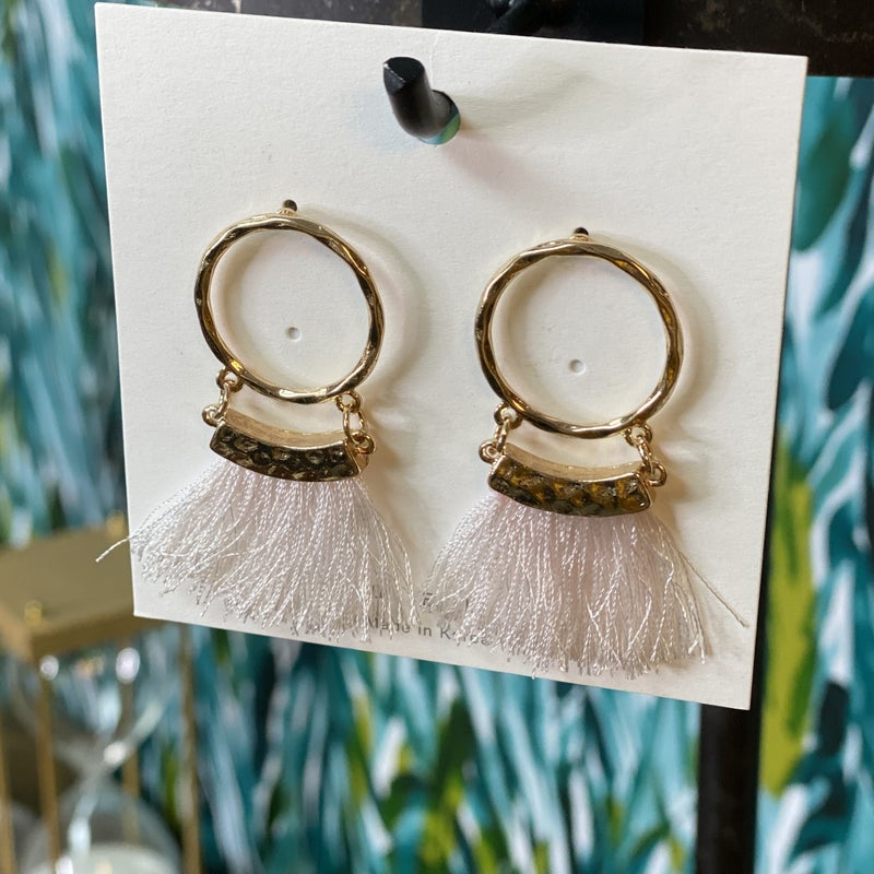 Small Gold Hoop Pink Fringe Earring