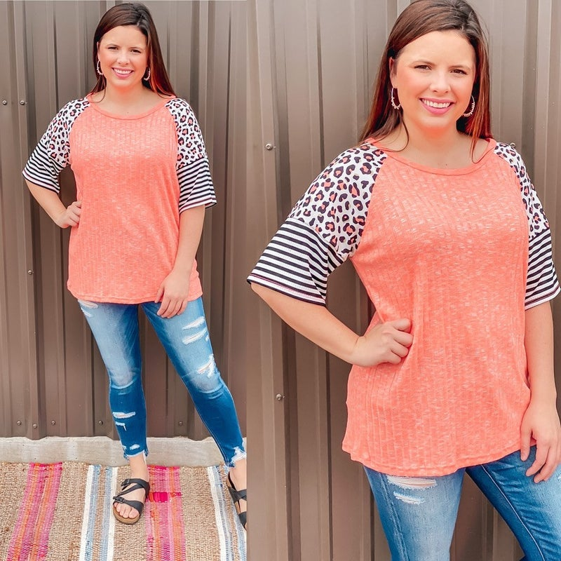 Haptics Coral Ribbed Top with Leopard/Stripe Raglan Sleeves