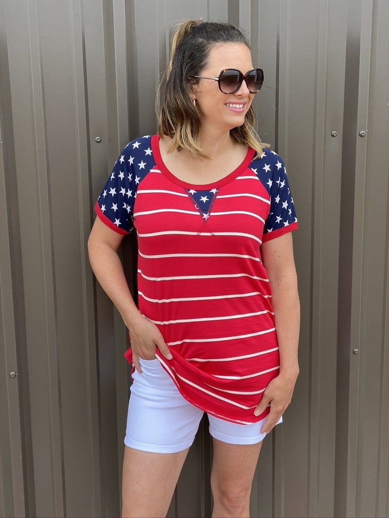 Reg/Plus Heimish Red/White Striped Top with Navy Star Sleeves