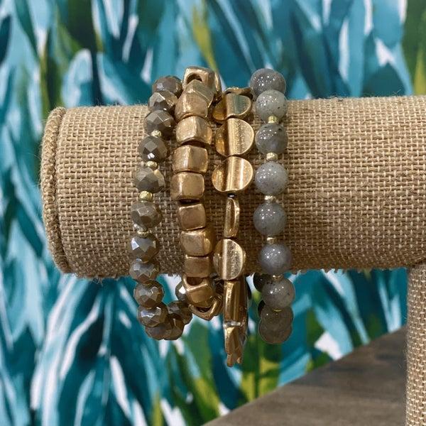 Grey & Gold Bracelet Set
