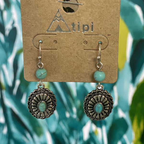 Western Inspired Drop Earring with Turquoise Embellishments