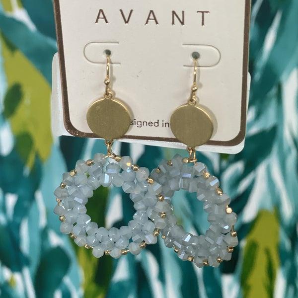 Blue Glass Bead Circlet Earrings