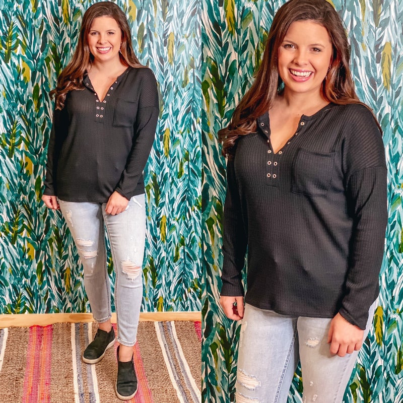 143 Story Black Waffle Top with Eyelet Neckline