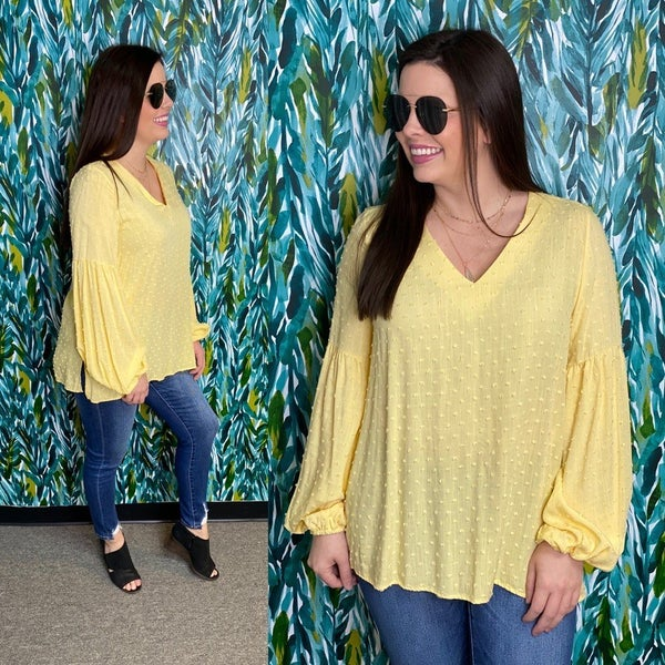 143 Story Lemon Dotted Swiss V-Neck Bubble Sleeve Top