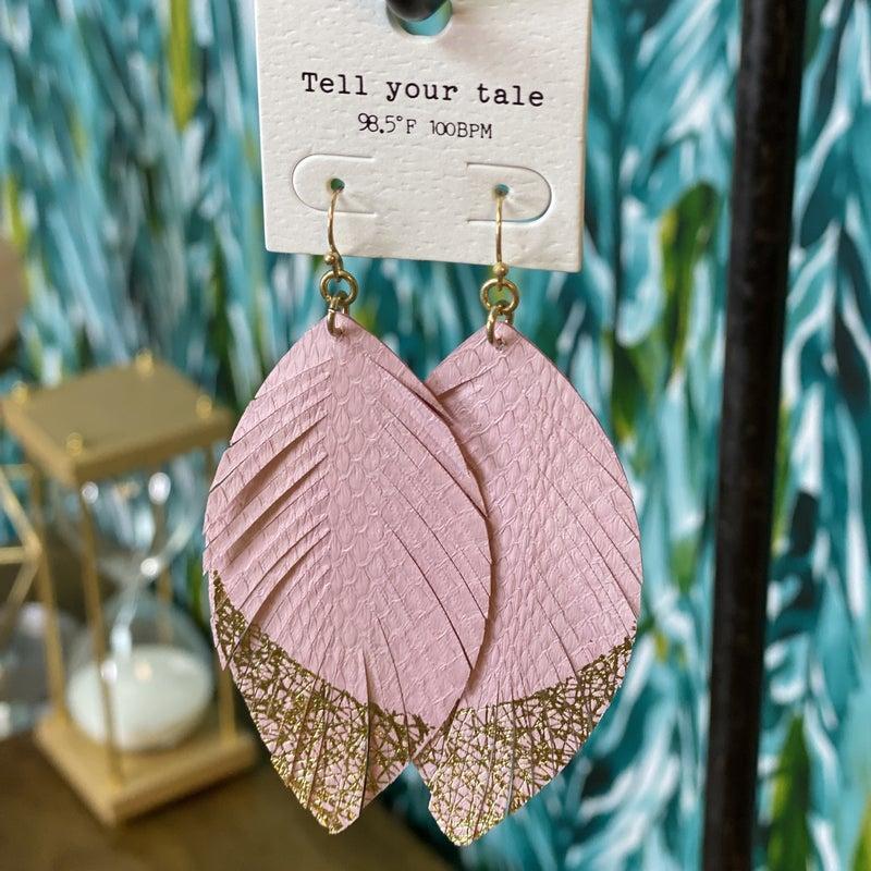 Pink Snakeskin Feather Earring *Final Sale*