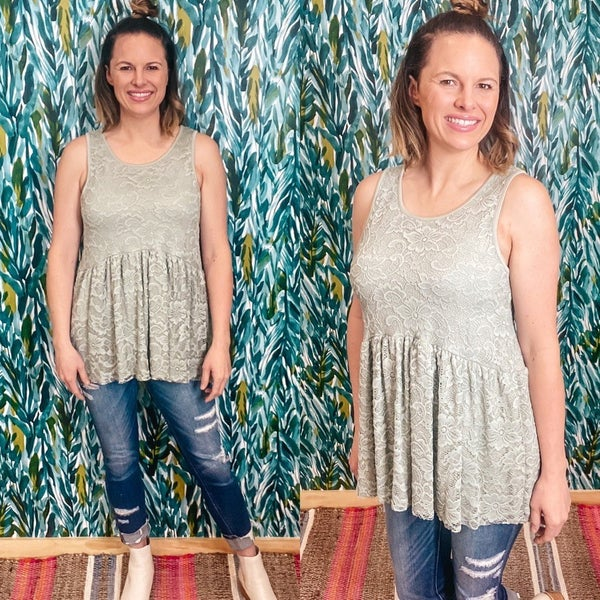 Reg/Plus Olive Lace Lined Top with Ruffled Bottom