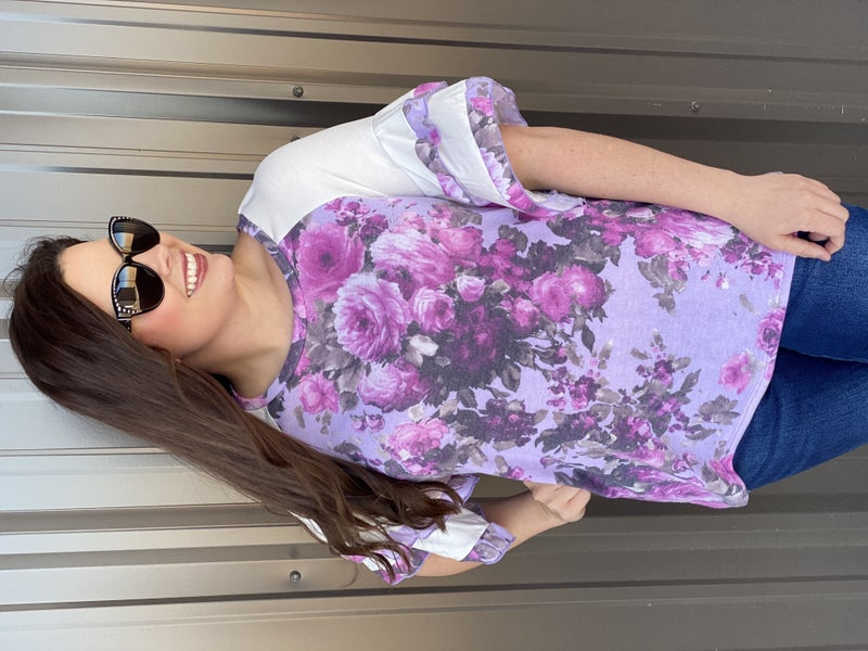 SIL Lavender Floral Top with Ruffled Sleeves *Final Sale*