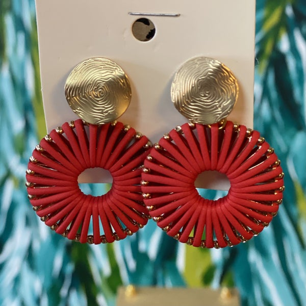 Boho Fan Post Back Earring Red