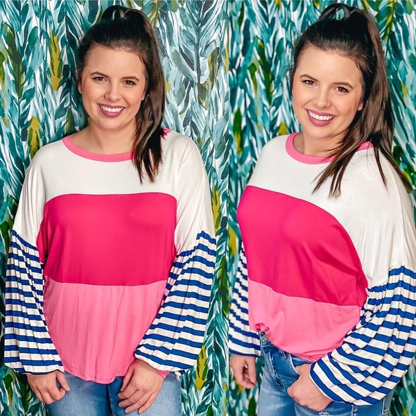 Reg/Plus Adora Ivory/Fuchsia/Pink Top with Striped Sleeves *Final Sale*