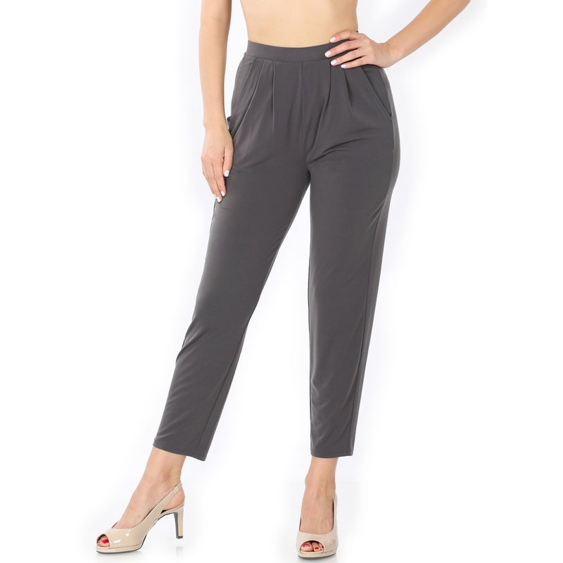 "Zenana Ash Gray Pleated ""Cheater"" Pants"