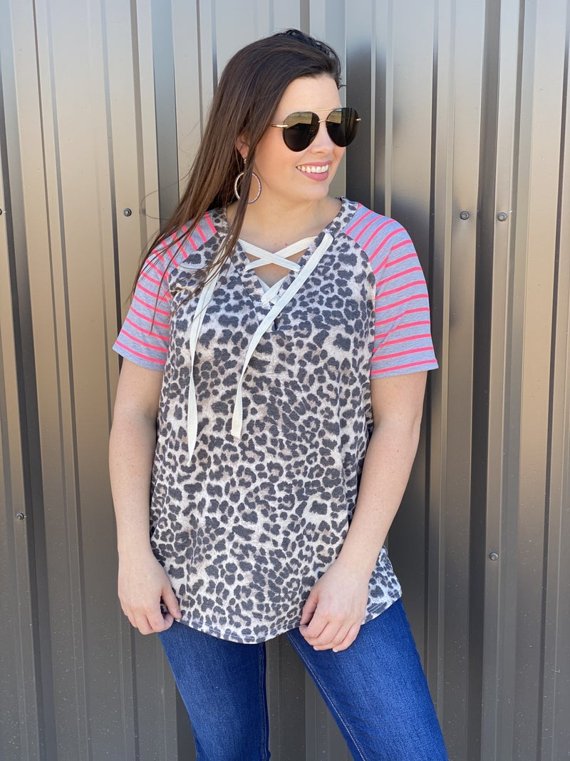 Reg/Plus SIL Leopard V-Neck Lace-Up Top with Striped Raglan Sleeves