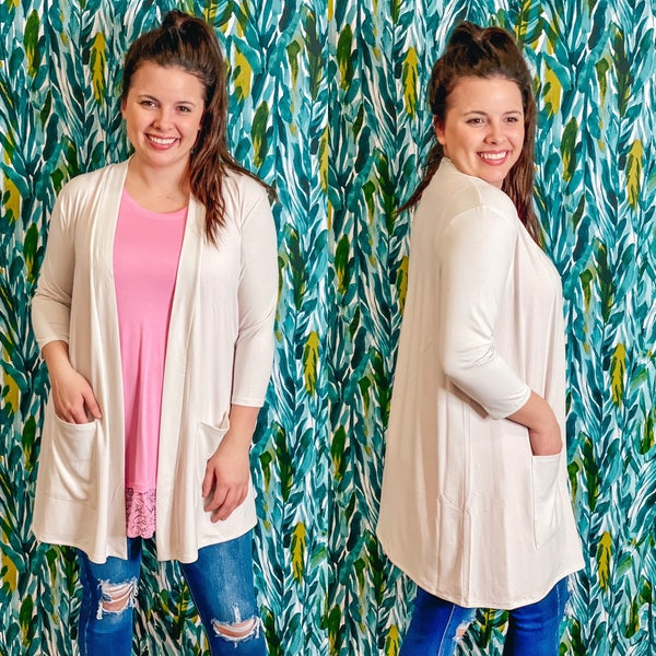 Reg/Plus Zenana Bone Slouchy Cardigan