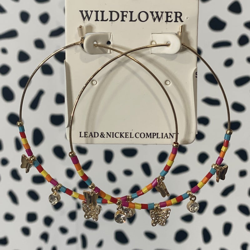 Stacked Butterfly Hoops Colorful