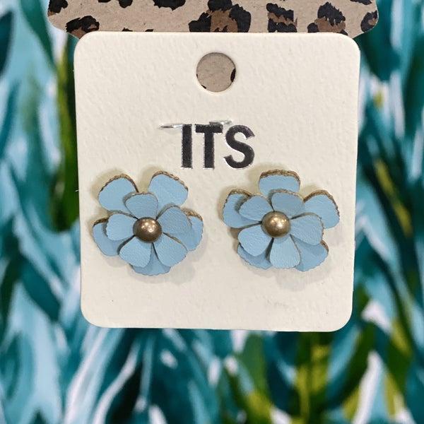 Faux Leather Flower Earring Blue