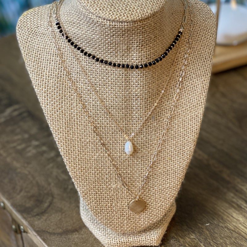 Gold Accented Layered Necklace Set