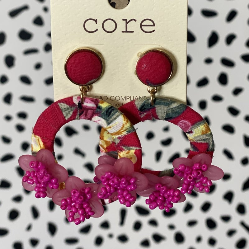 Floral Fabric Earrings Fuchsia