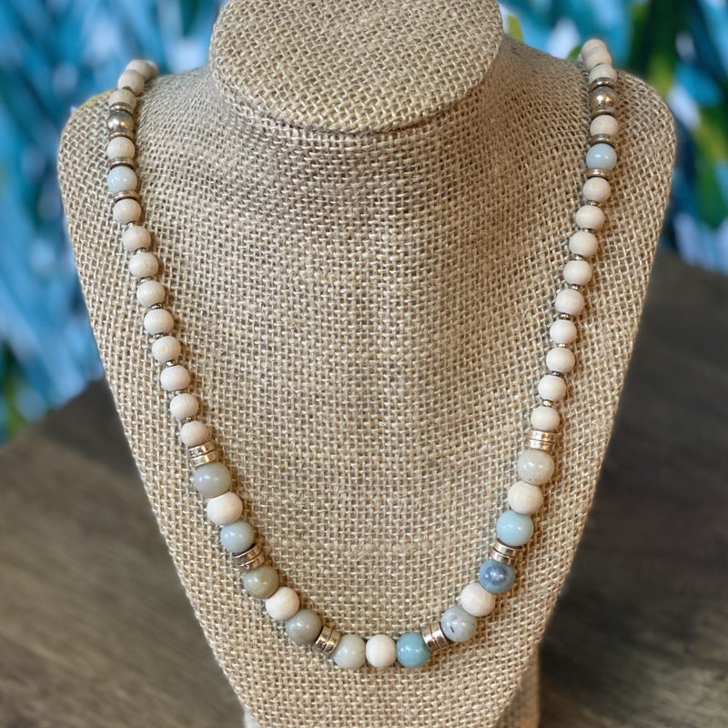 Wish Stone Wood Beaded Necklace *Final Sale*