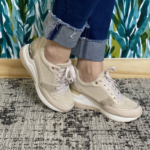 Restock--Glister Gold Wedge Sneakers