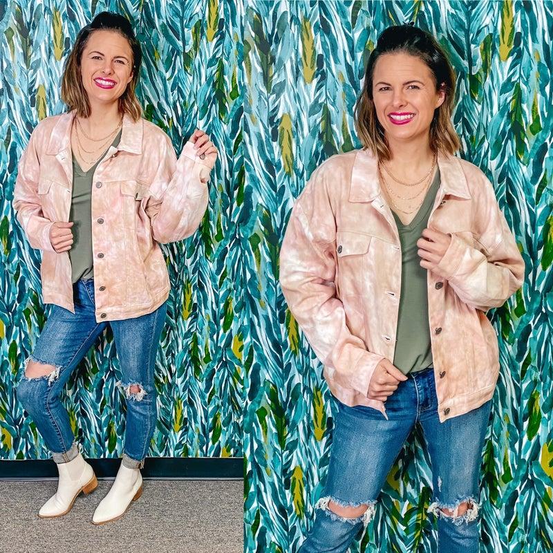 Papermoon Blush/Tan Tie Dye Jacket