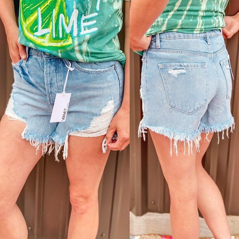 "Vervet Shasha ""Bubble B"" Distressed Frayed Lightwash Shorts"