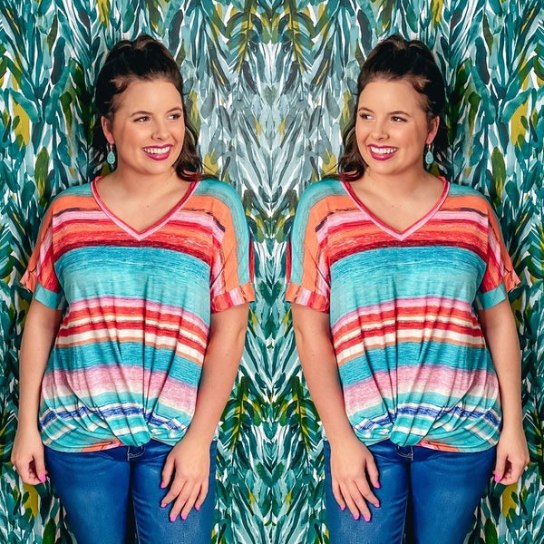 Reg/Plus SOL Turquoise/Coral Striped V-Neck Top