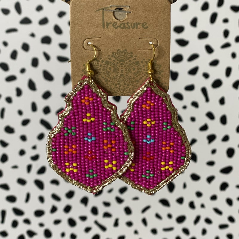 Seed Bead Chandelier Earrings - Fucshia