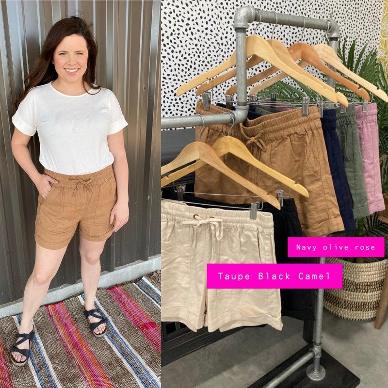 Zenana Linen Drawstring Waist Shorts with Pockets (Pre-Washed)