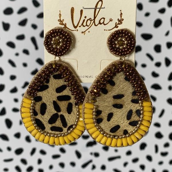 Leopard Hide Teardrop Earrings