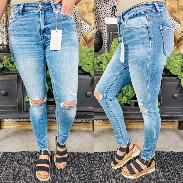 "Flying Monkey ""Tempo"" Distressed Ankle Jeans"
