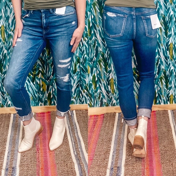 """Vervet Haylie """"About Time"""" High Rise Distressed Crop Jeans"""