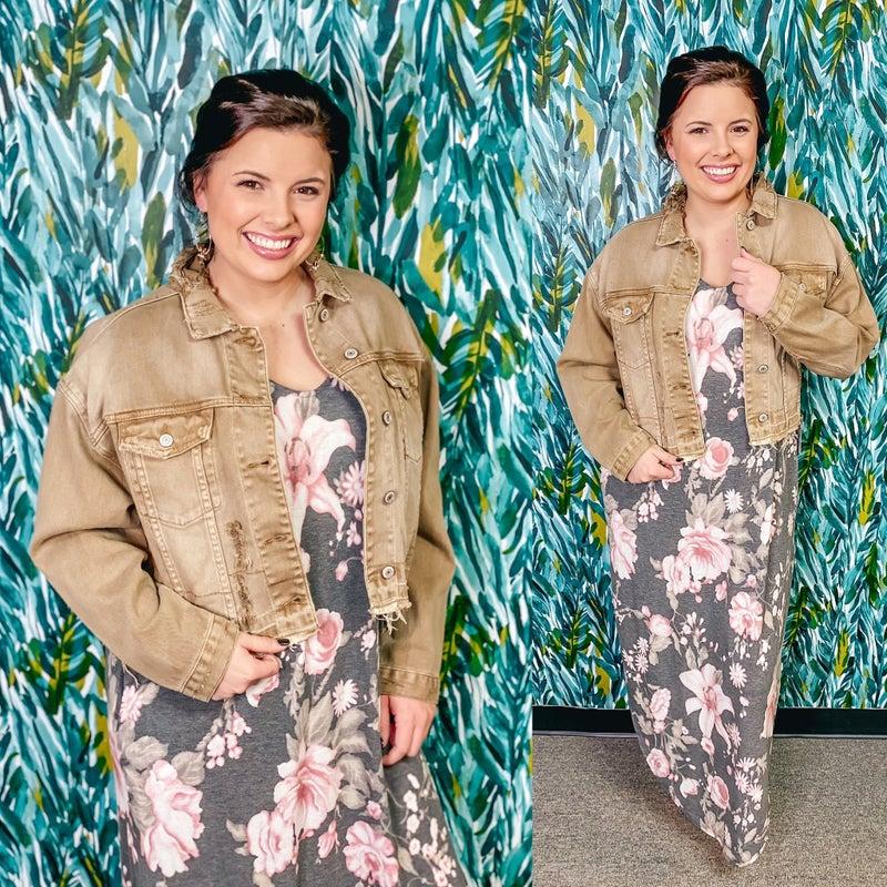 Vervet Tan Distressed Oversized Crop Jacket