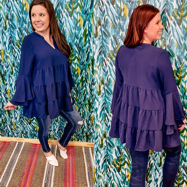 Zenana Navy Tiered Ruffled Bell Sleeve Top *Final Sale*