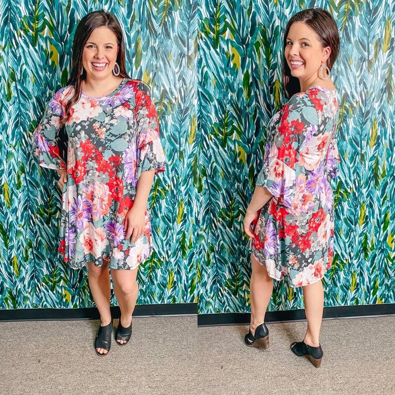 Reg/Plus Sage Floral Dress with Flutter Sleeves
