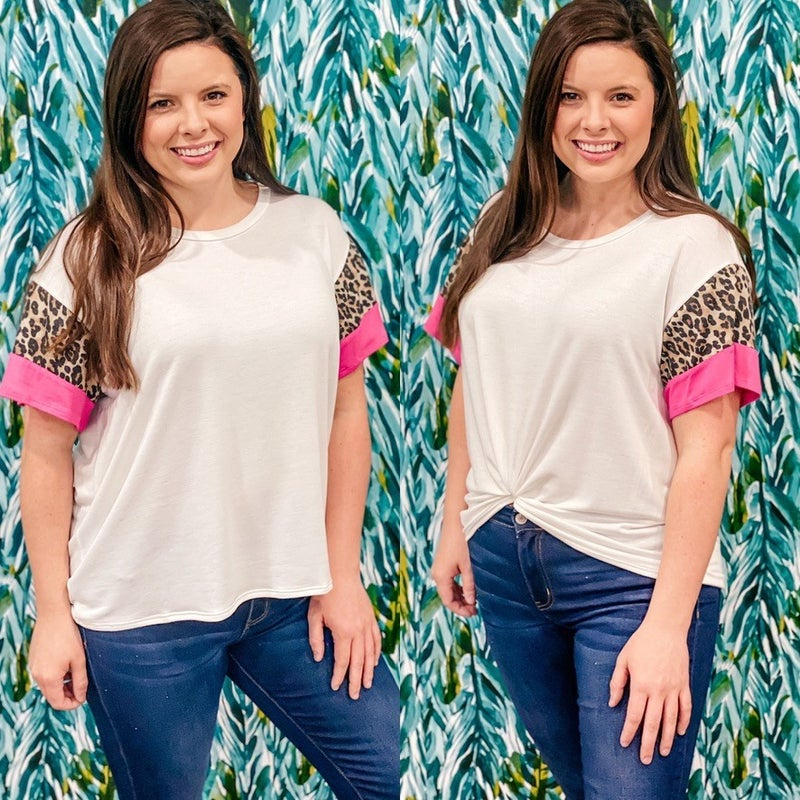Fantastic Fawn Ivory Top with Leopard/Pink Color Block Sleeves *Final Sale*